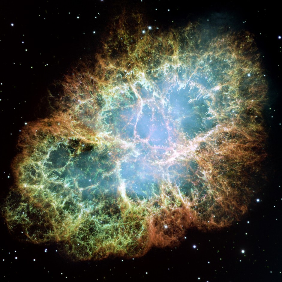 The Crab Nebula observed by Hubble.
