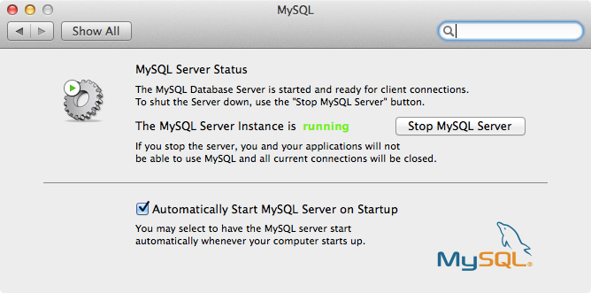 MySQL System Preferences